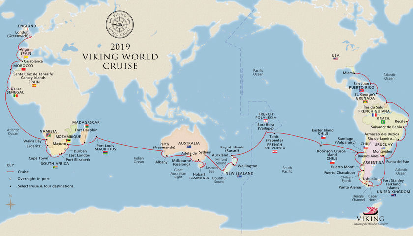 2019 Viking World Cruise Map