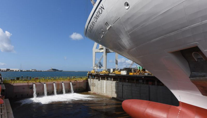 Seabourn Ovation touching water for first time