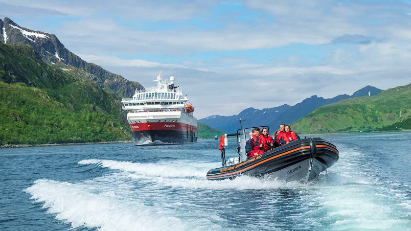 Hurtigruten ship and RIB boat