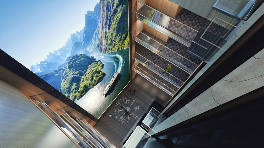 Hurtigruten LED screen atrium